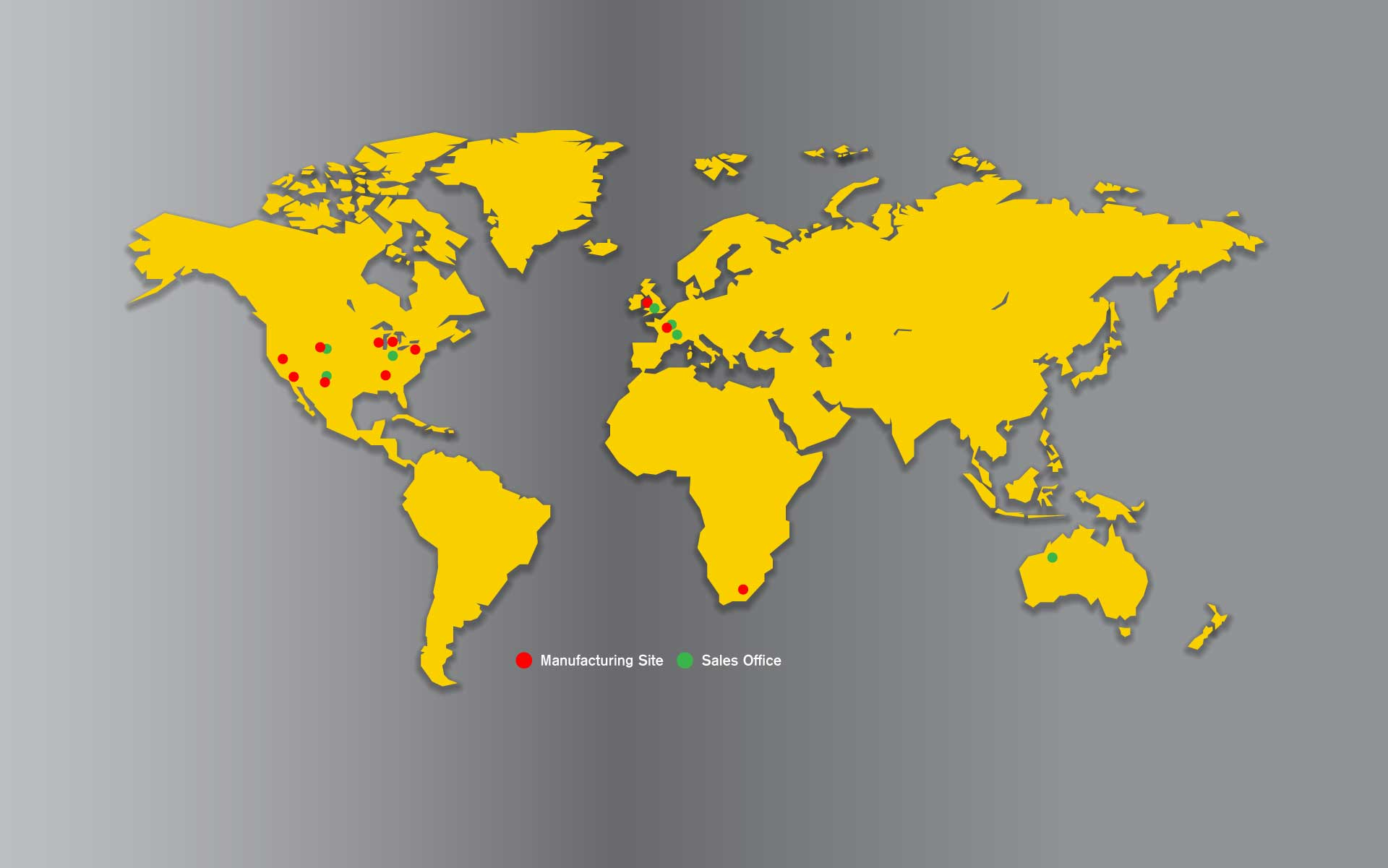 World map showing Macpactor manufacturing sites and sales offices
